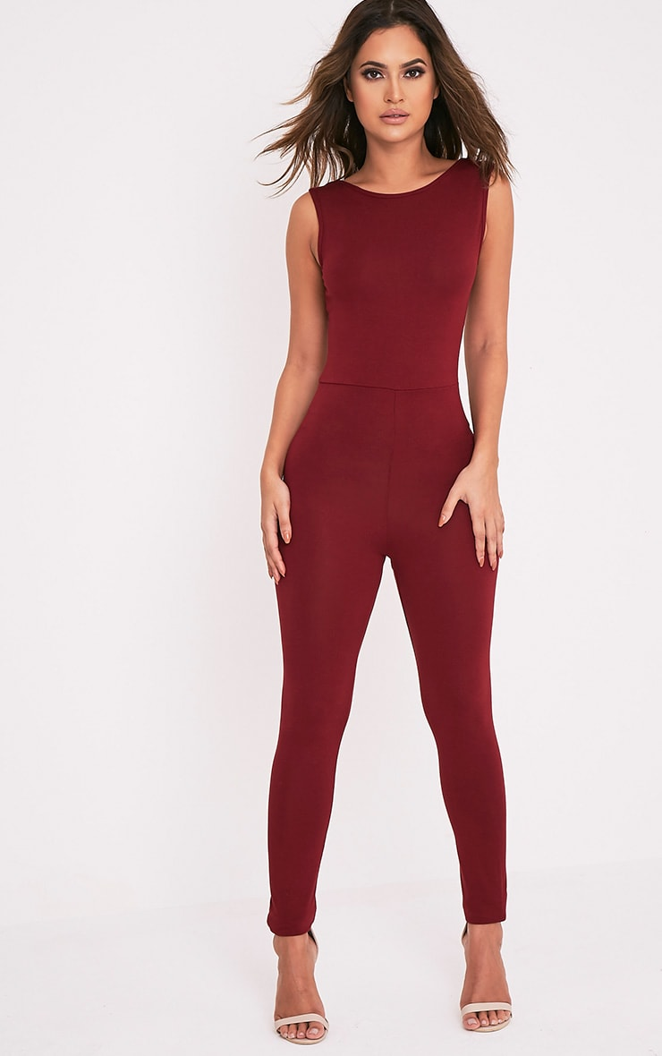 Elena Wine Strap Back Jumpsuit 5