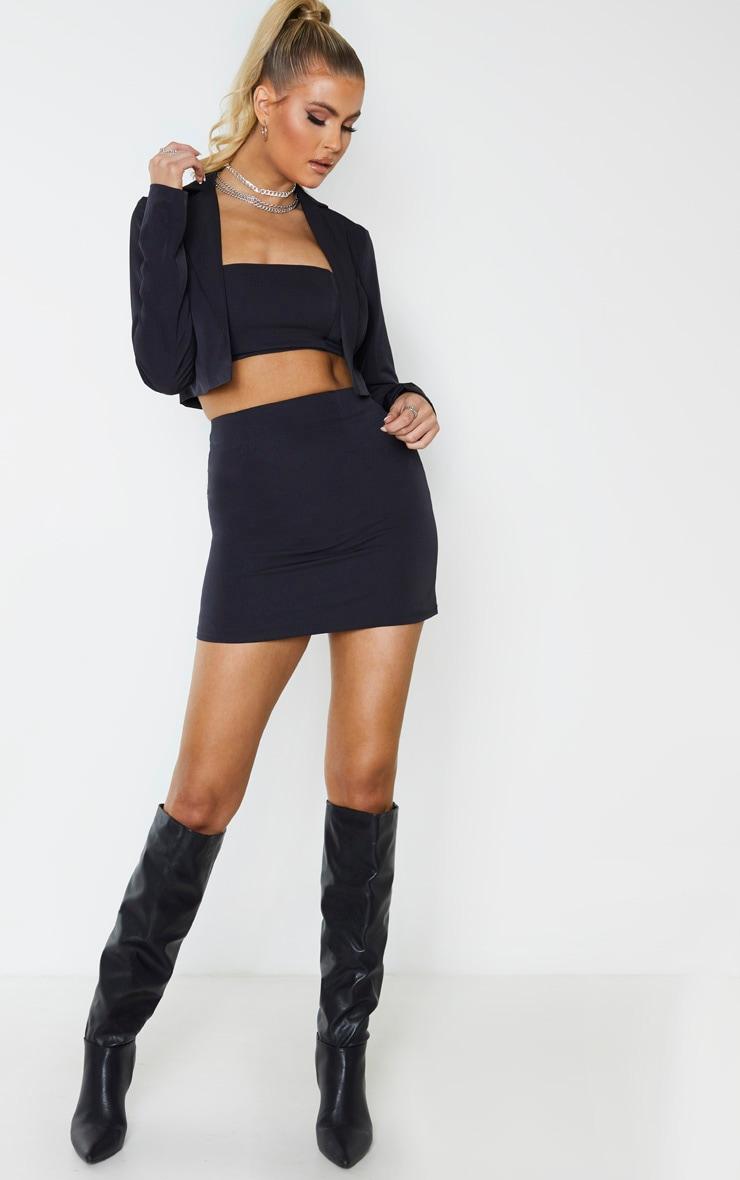 Tall Black Woven Cropped Blazer 4