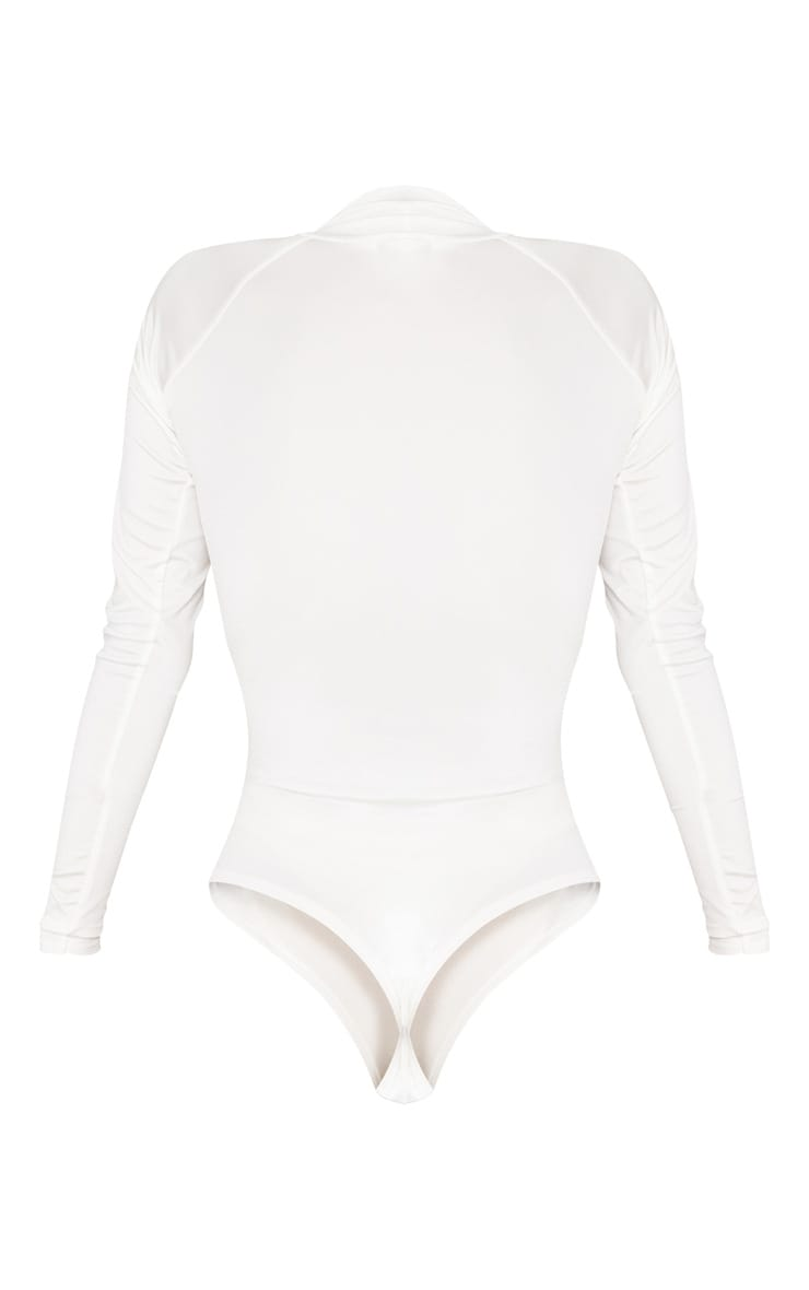 White Seamless Roll Neck Bodysuit 4