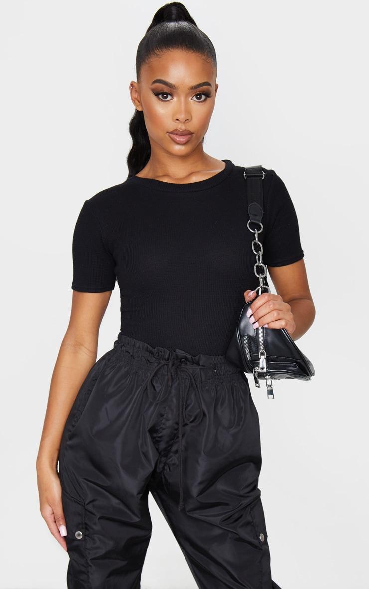 Black Waffle Knit Short Sleeve Bodysuit 1