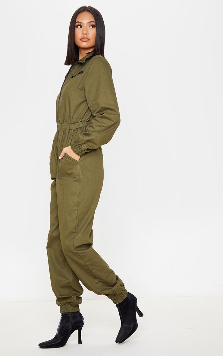 Khaki Boiler Contrast Zip Jumpsuit 4