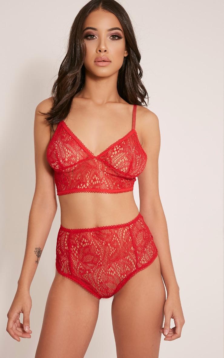 Leena Red Lace Soft Bra 1