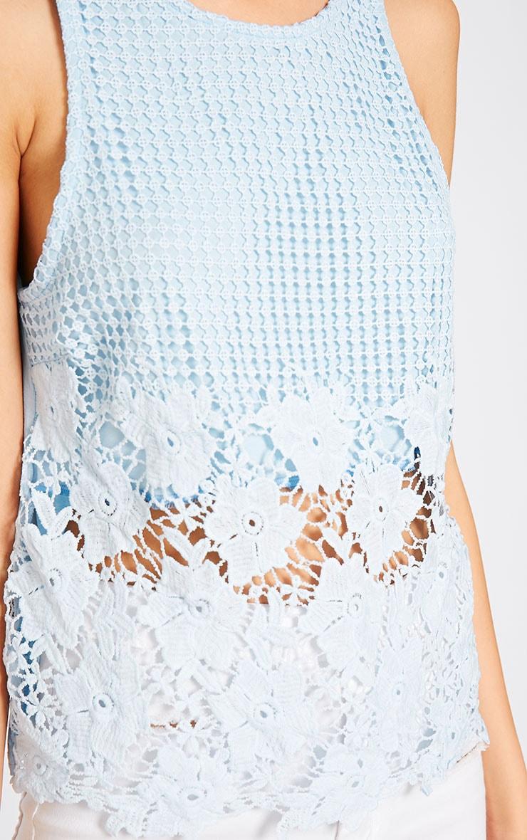 Bobbie Powder Blue Crochet Top 5