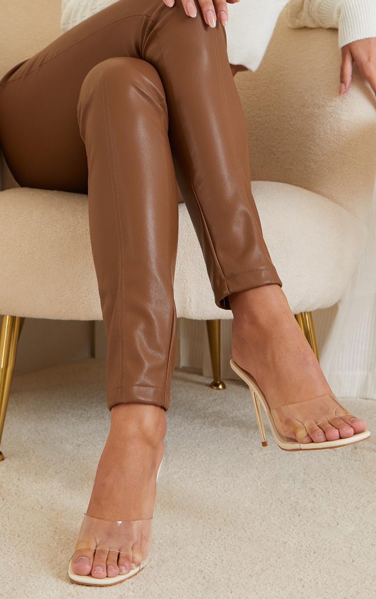 Cream PU Clear Strap Contrast High Heeled Mules 2