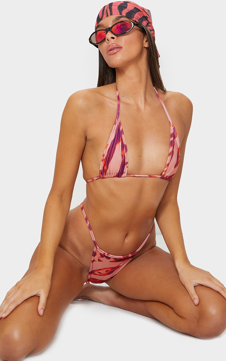 Bas de bikini mini style brésilien à imprimé zébrures abstraites oranges 4