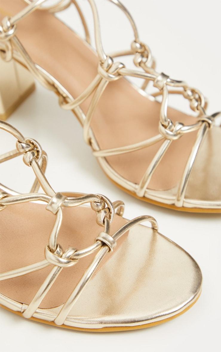 Gold Block Heel Leg Tie Sandal 4