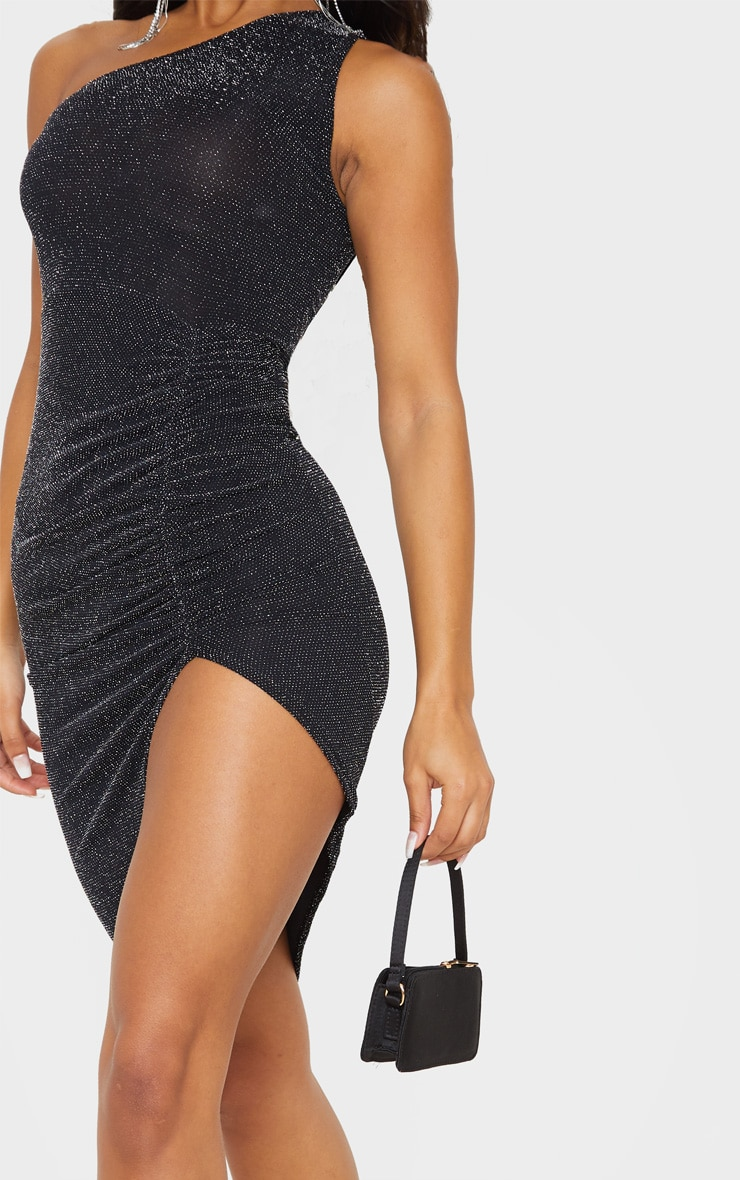 Black Textured Glitter One Shoulder Ruched Midi Dress 5