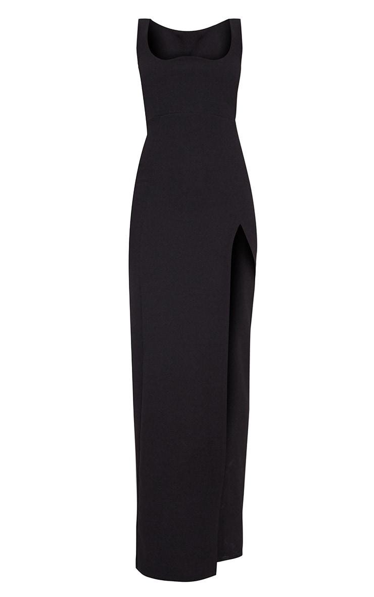 Black Square Neck V Cut Split Leg Maxi Dress 3