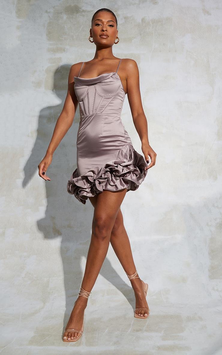 Mauve Corset Cowl Strappy Satin Frill Hem Bodycon Dress 3