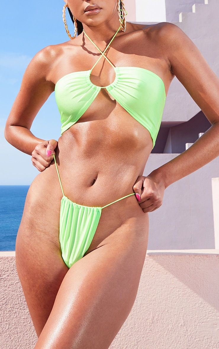 Lime Elastic Side Bikini Bottom 1
