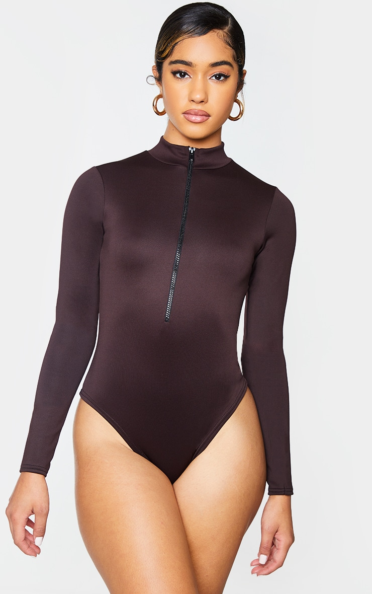 Chocolate Bonded Scuba High Neck Zip Bodysuit 2