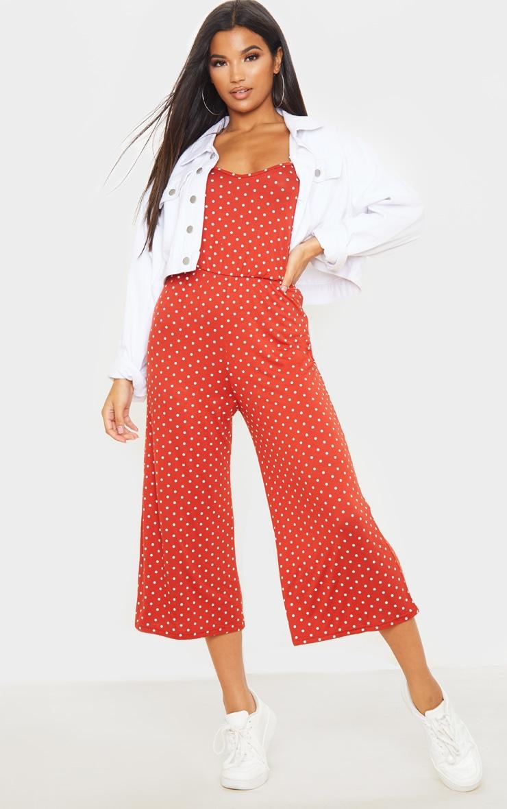 Terracotta Polka Dot Strappy Jersey Culotte Jumpsuit 1