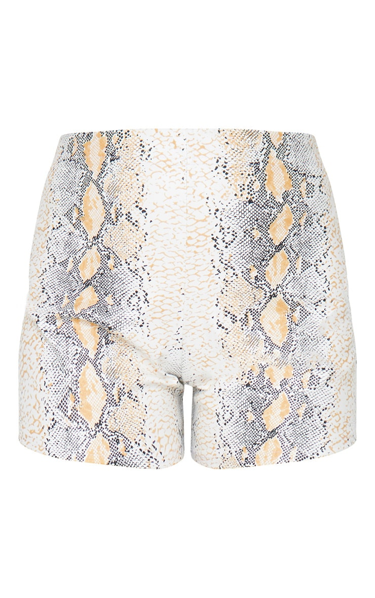 Taupe Faux Leather Snake Skin Short 7