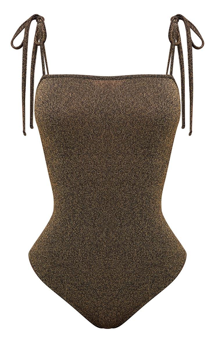 Shape Gold Tie Strap Lurex Bodysuit 3