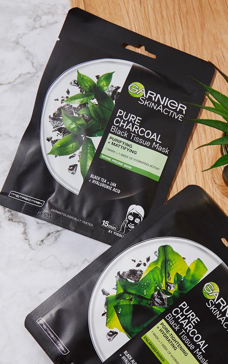 Garnier - Masque tissu au charbon noir et au thé noir, Noir