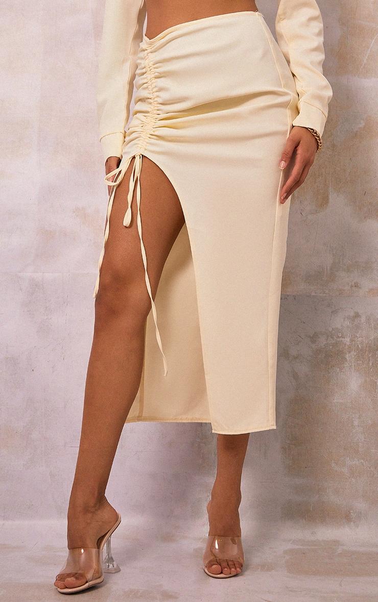 Cream Woven Ruched Tie Front Split Leg Midi Skirt 2
