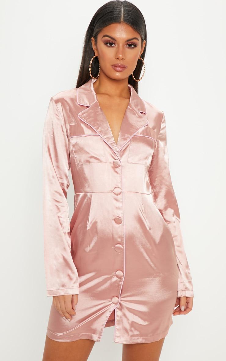 Rose Binding Detail Satin Shirt Dress
