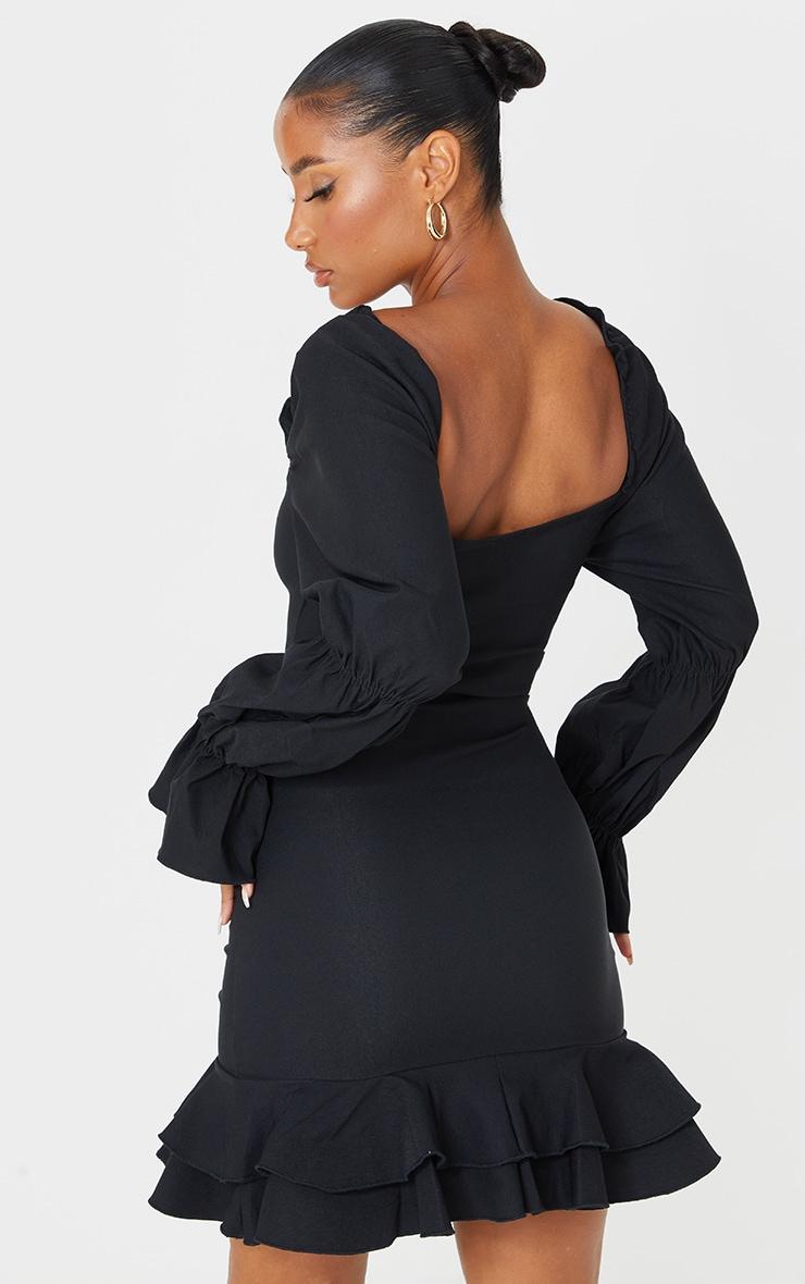 Black Puff Sleeve Ruffle Detail Frill Hem Bodycon Dress 2