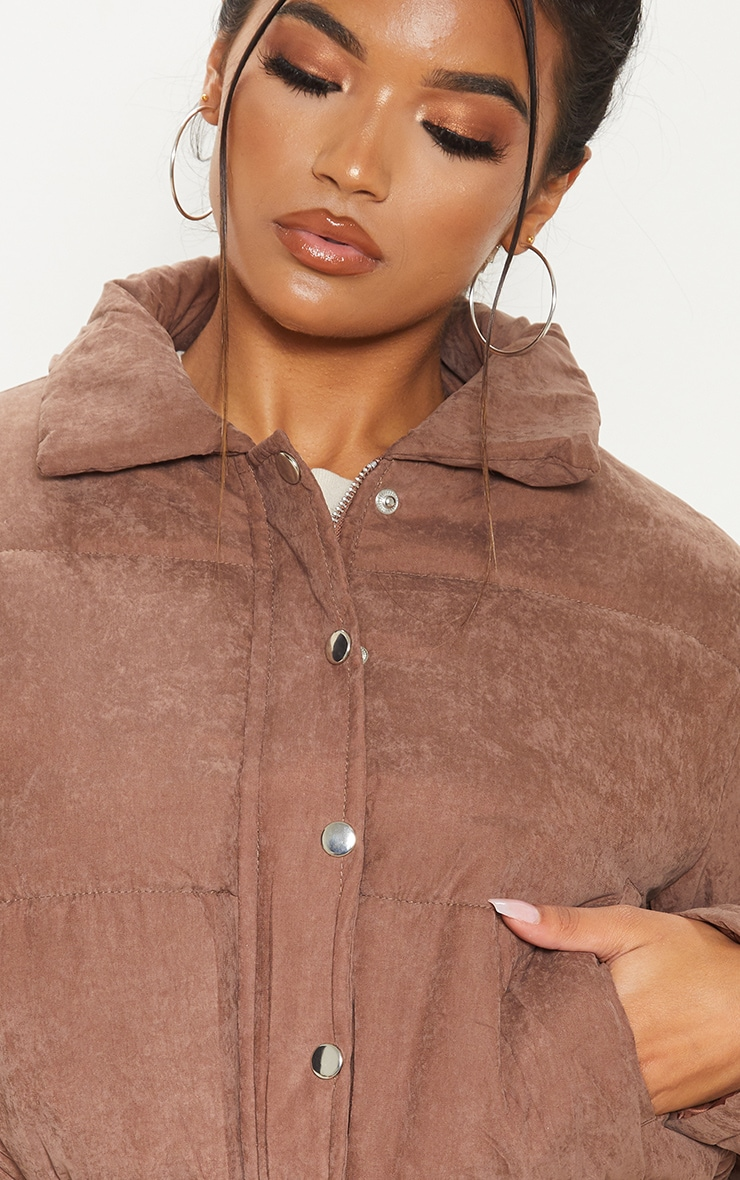 Chocolate Peach Skin Puffer Jacket 5