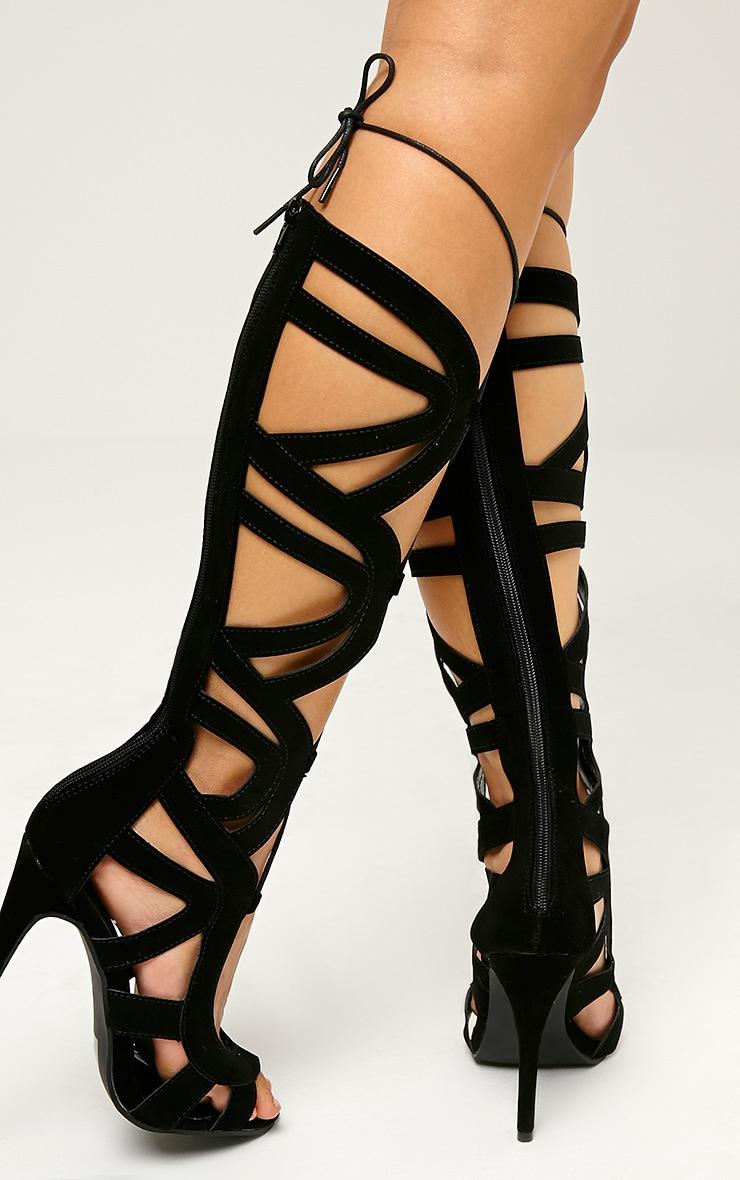 Vogue Black Faux Suede Cut Out Boots 2