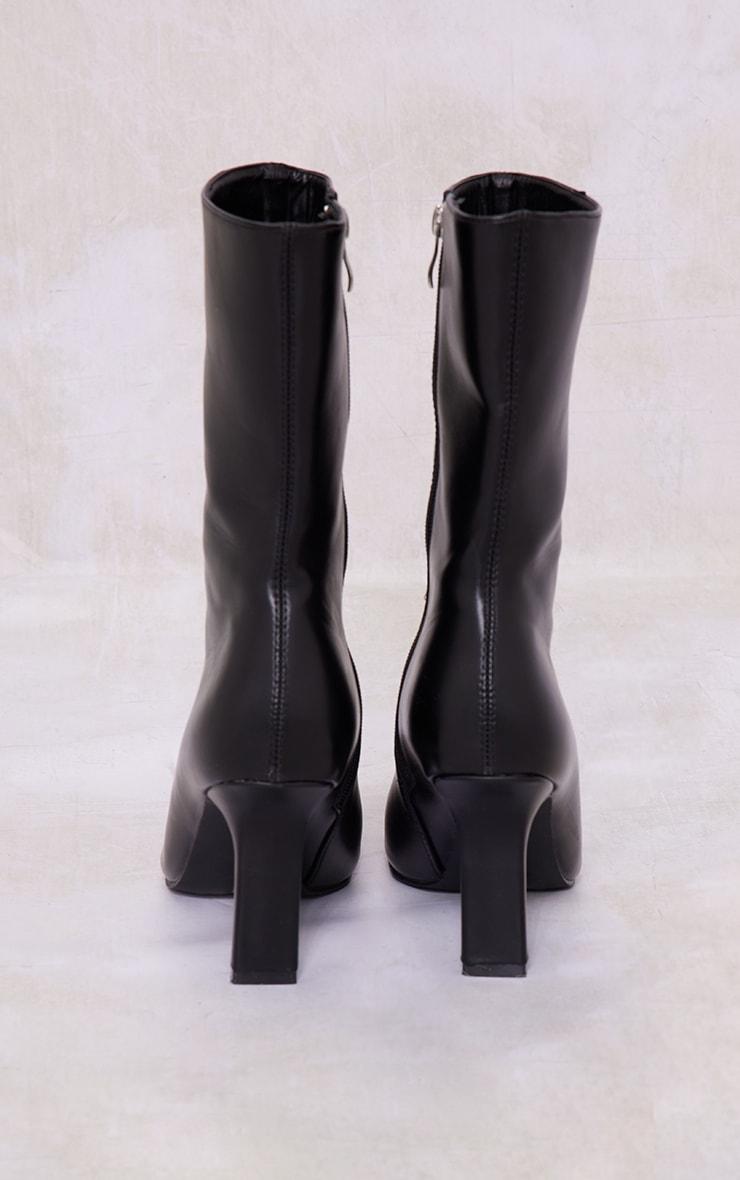 Black Pu Square Toe Flat Heel Ankle Boots 4
