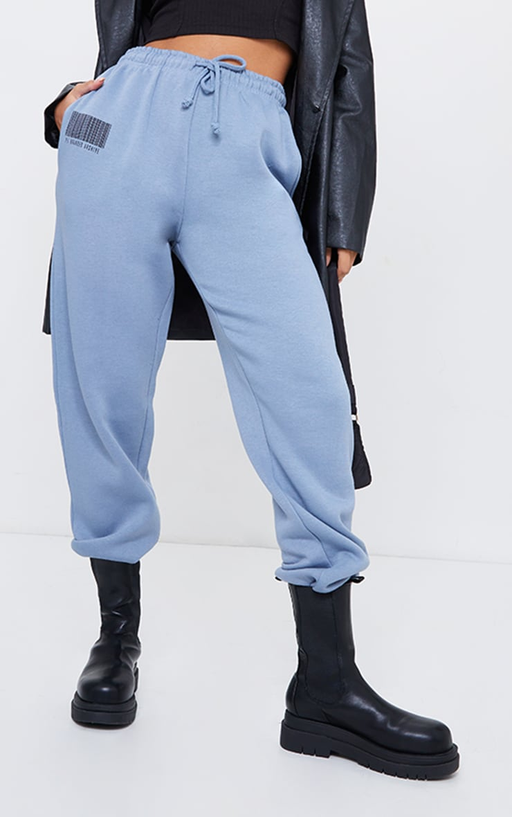 PRETTYLITTLETHING Steel Blue Barcode Joggers 2