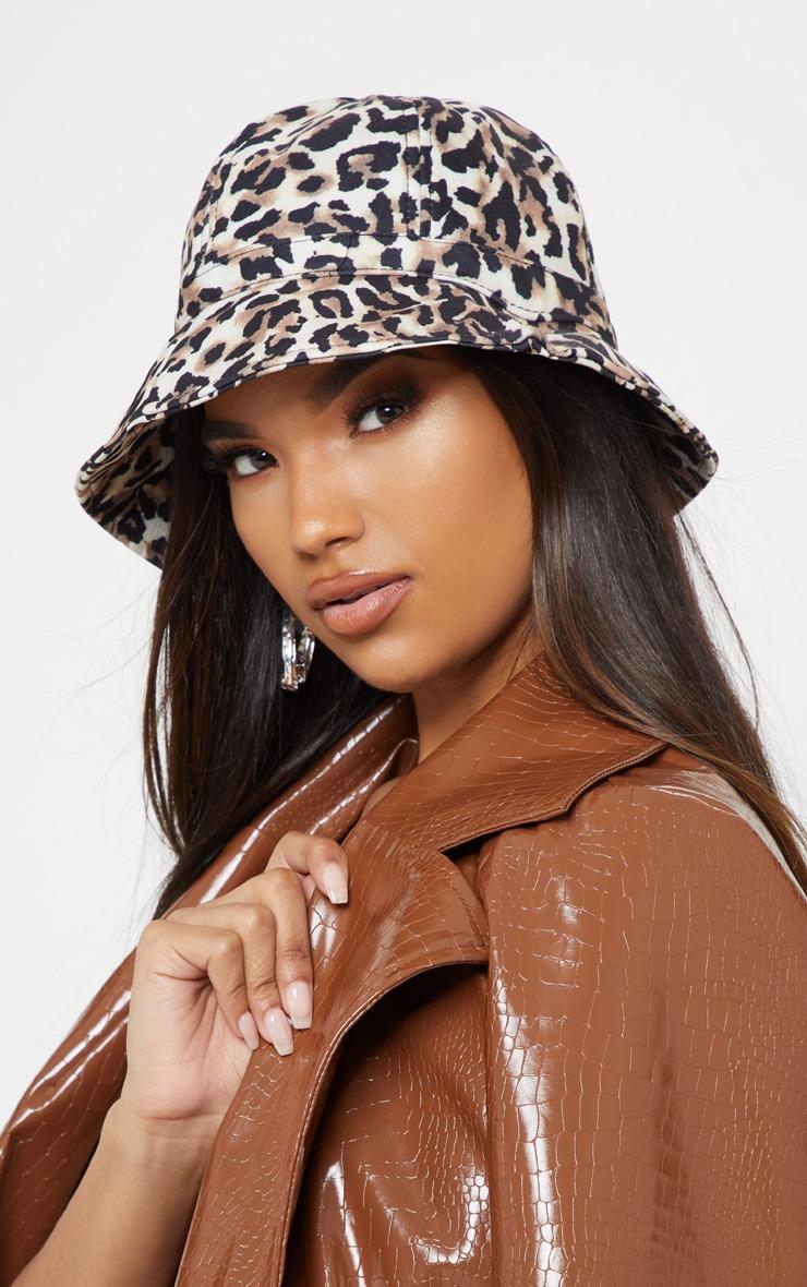 Tan Leopard Print Bucket Hat 1