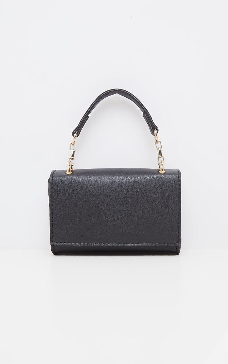 Black PU Rectangle Chain Detail Mini Bag 4