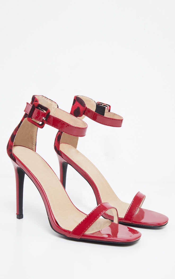 Red Two Tone Leopard Square Toe Heeled Sandal 3