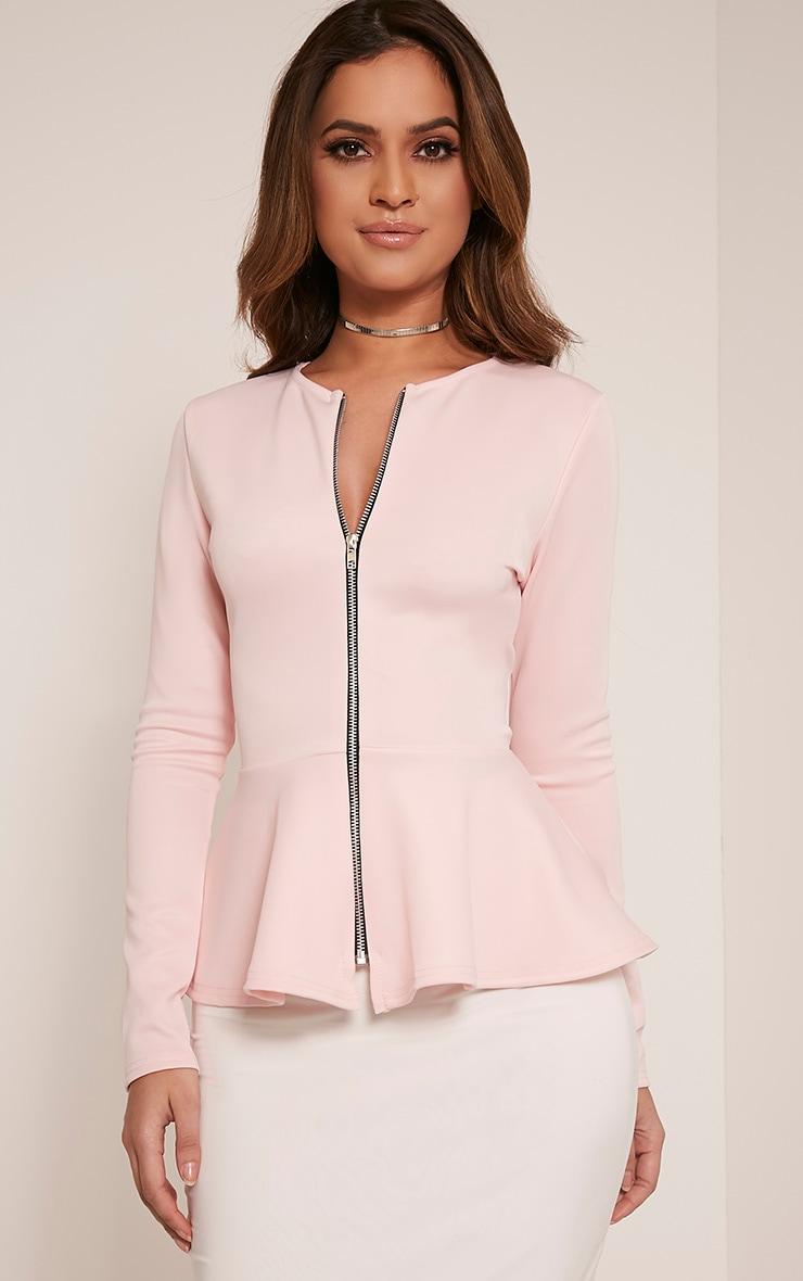 Genevie Baby Pink Scuba Peplum Jacket 1