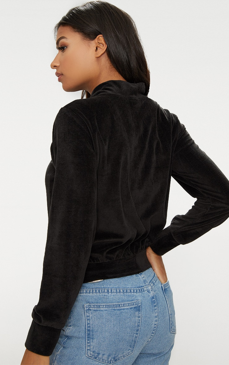 Black Velour Cropped Tracksuit Jacket 2