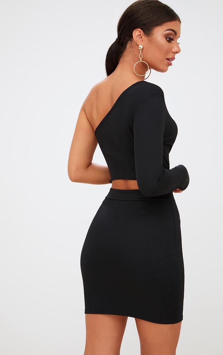 Black Asymmetric One Sleeve Bodycon Dress 2