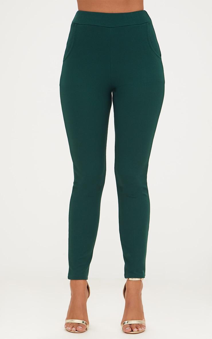 Emerald Green Crepe Skinny Trousers 2