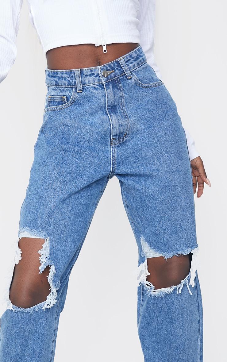 PRETTYLITTLETHING Tall Mid Blue Extreme Distressed Hem Boyfriend Jeans 4