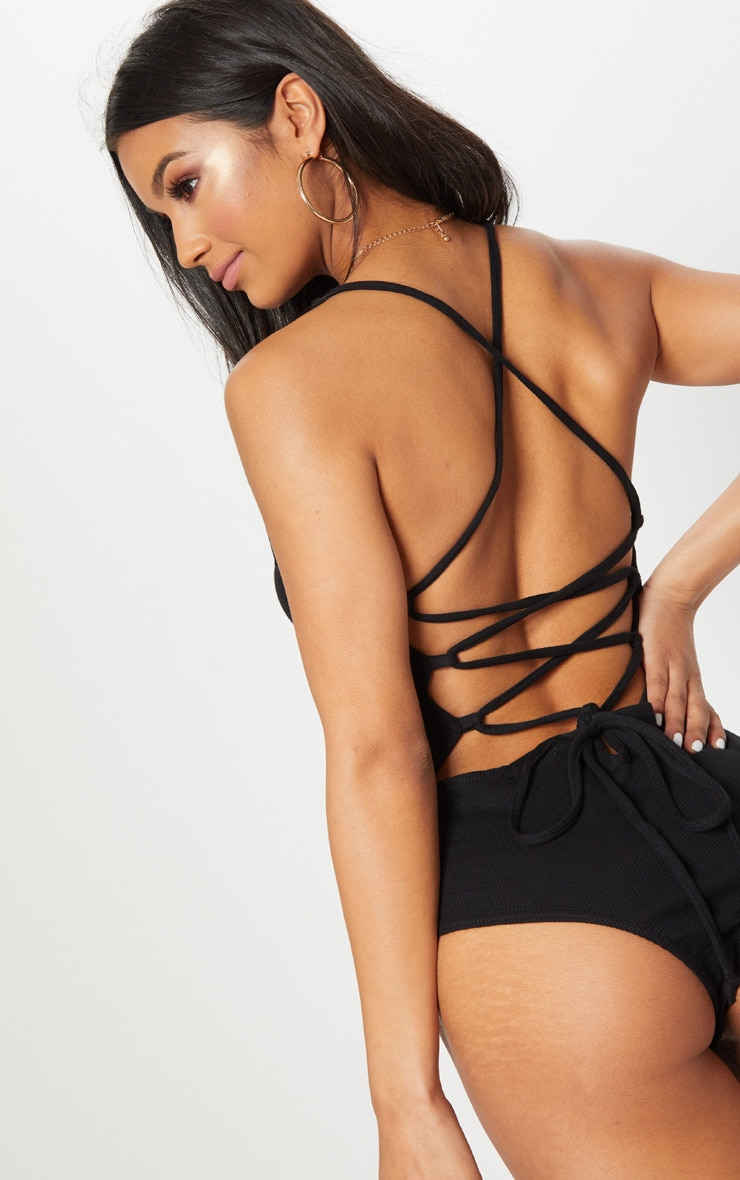 Black Rib Strappy Back Thong Bodysuit 1