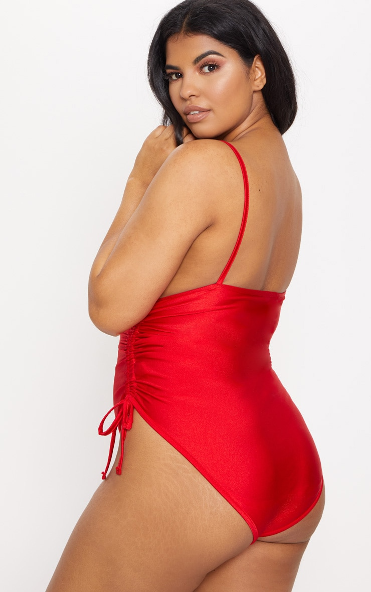 Plus Red Ruched Adjustable Side Swimsuit 2