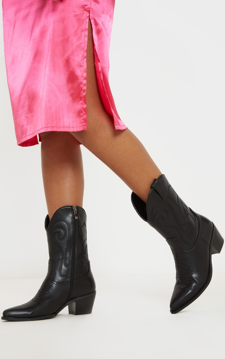 Black Stitch Detail Western Calf Boot 1