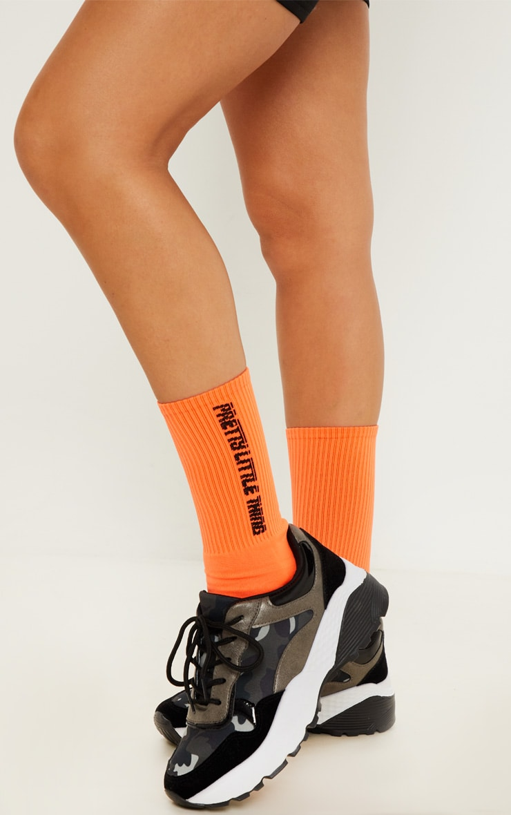 PRETTYLITTLETHING Neon Orange Logo Socks 2