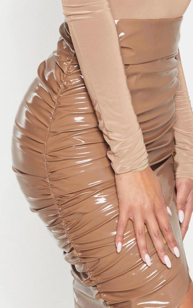 Stone Vinyl Ruched Wrap Midi Skirt 5