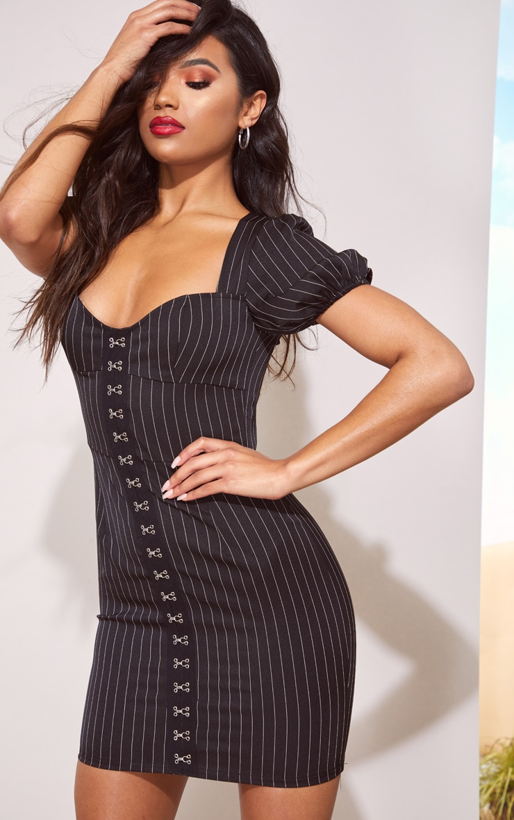 Black Pinstripe Puff Sleeve Bodycon Dress 1