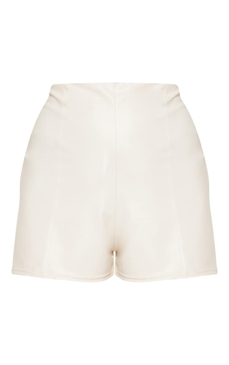 Cream Faux Leather Seam Front Short 3