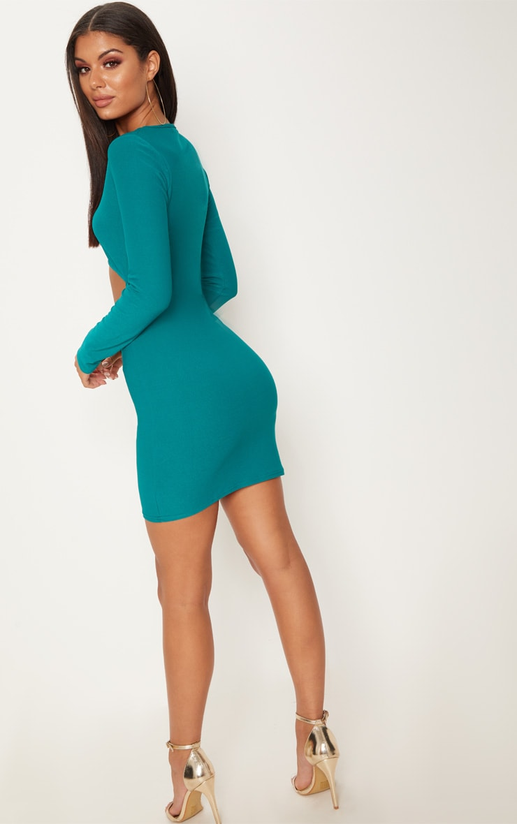 Deep Turquoise Long Sleeve Cut Out Bodycon Dress 2