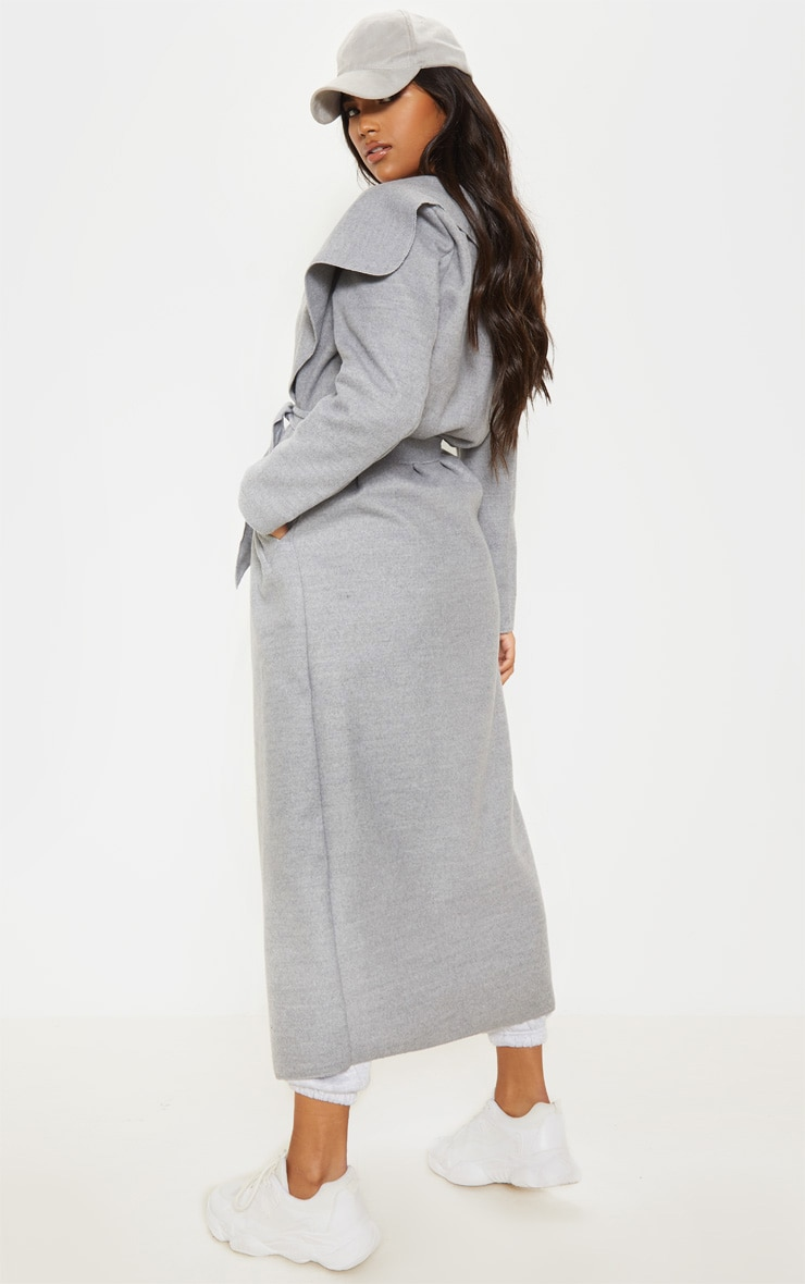 Grey Maxi Length Oversized Waterfall Belted Coat 2