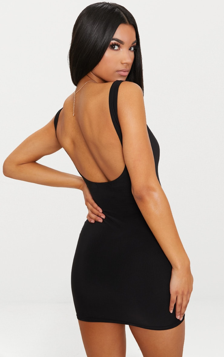 Black Second Skin Slinky Scoop Neck Bodycon Dress 2