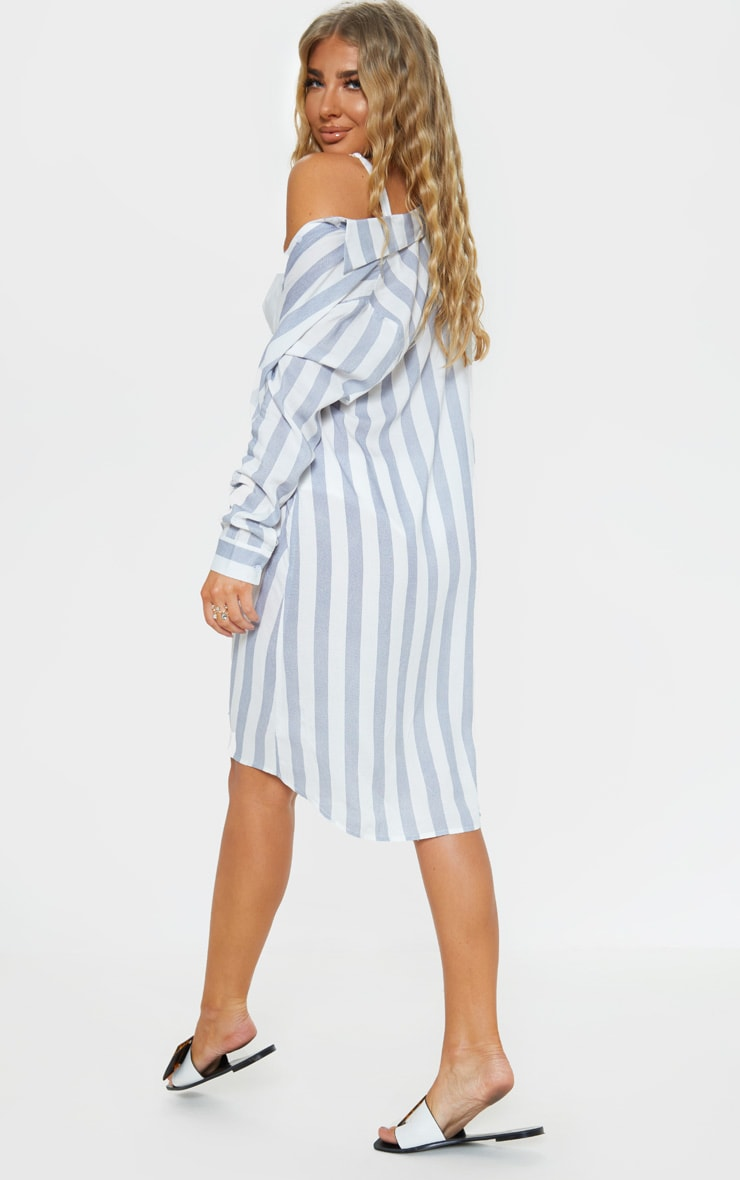 Blue Wide Stripe Midi Beach Shirt Dress 2