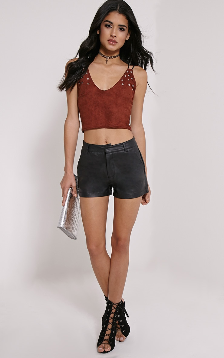Galina Chocolate Brown Faux Suede Eyelet Crop Top 3