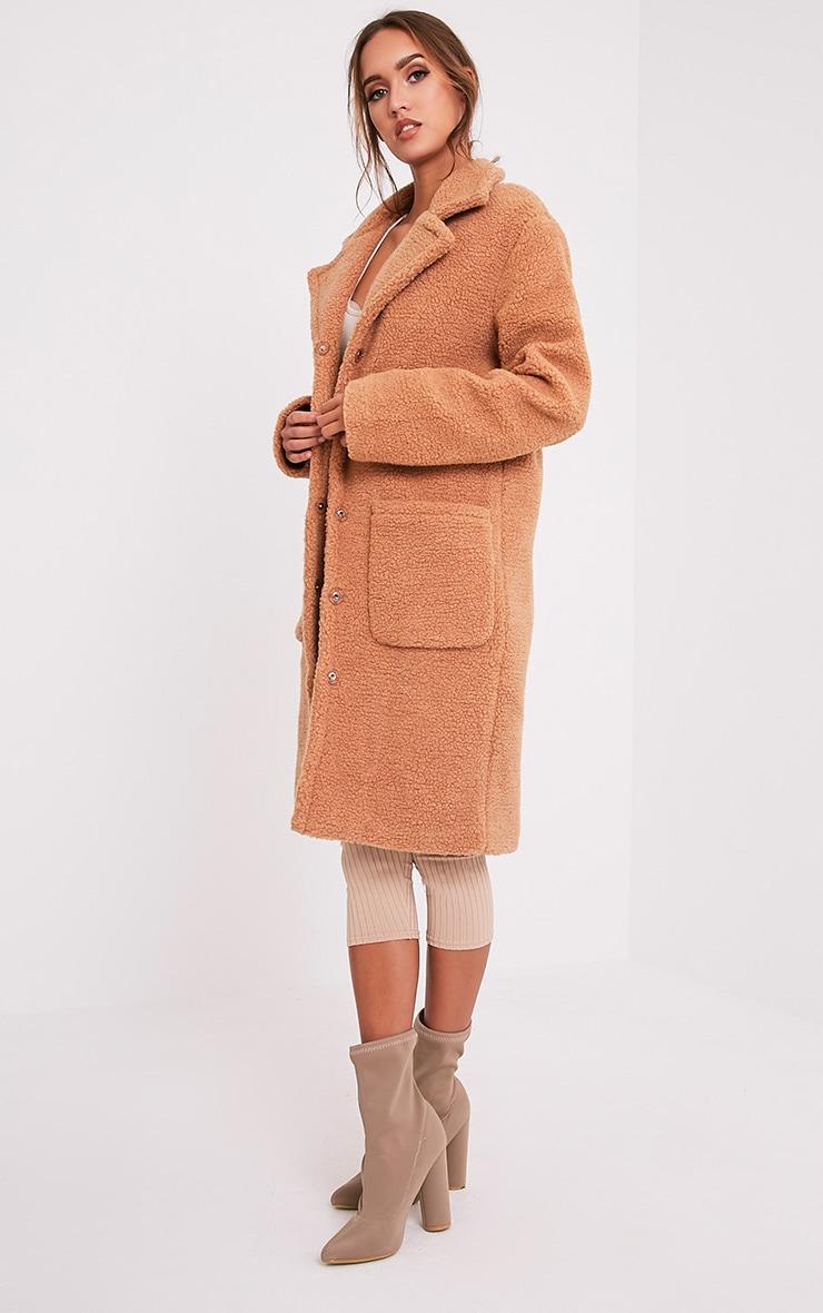 Taibah Camel Teddy Fur Longline Coat 4