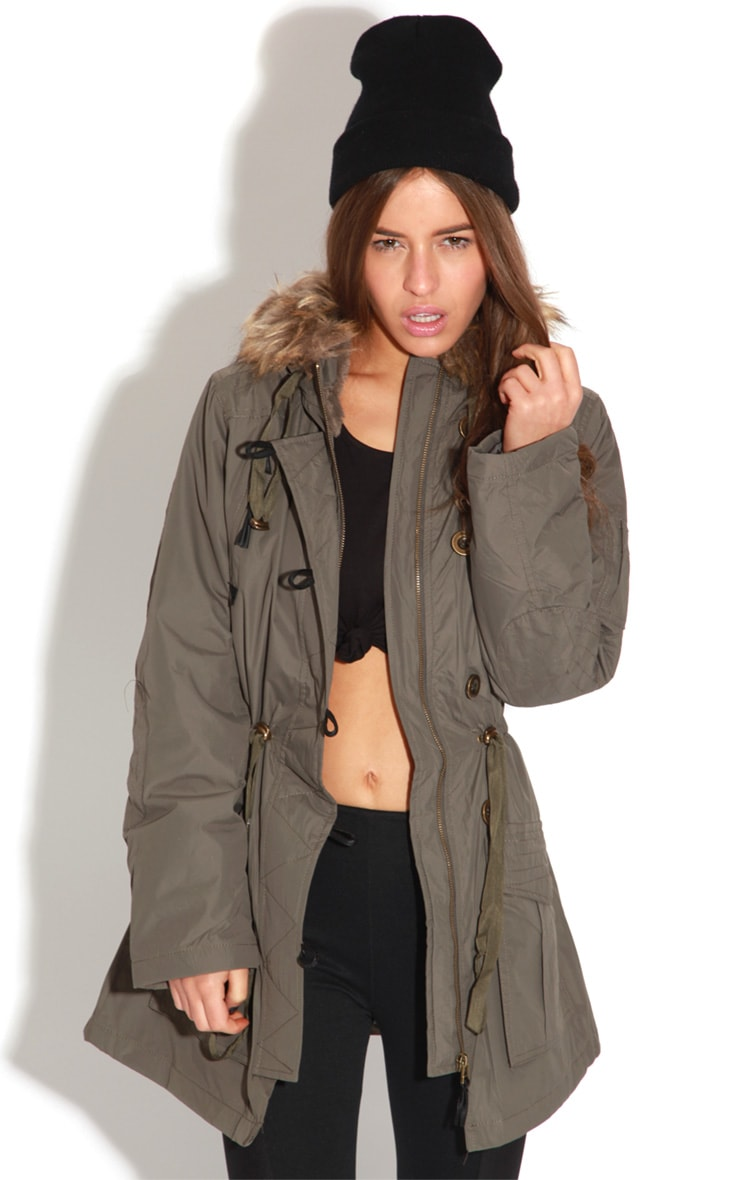 Heena Khaki Fur Lined Parka Coat  1
