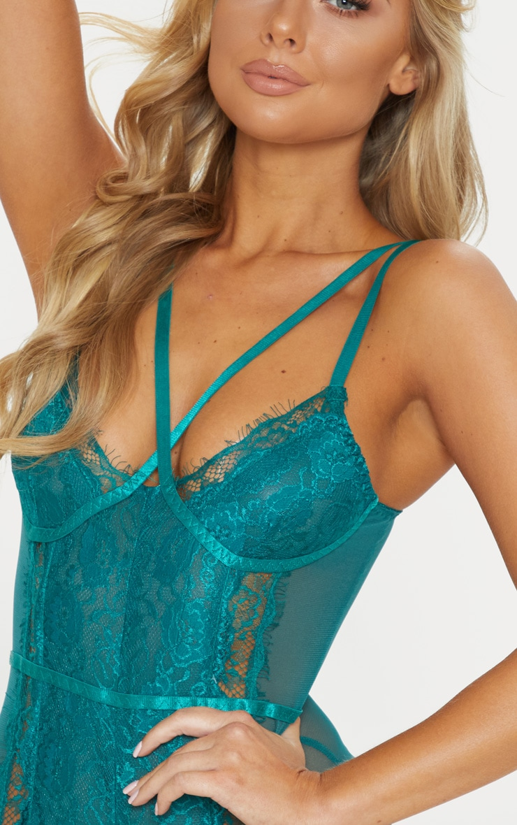 Emerald Cross Front Mixed Lace Body 6