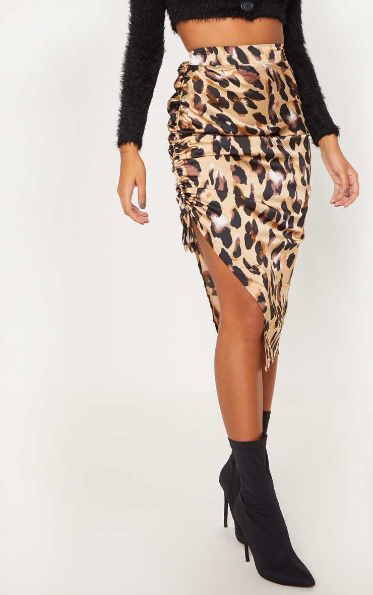 Leopard Print Satin Printed Ruched Side Midi Skirt 2